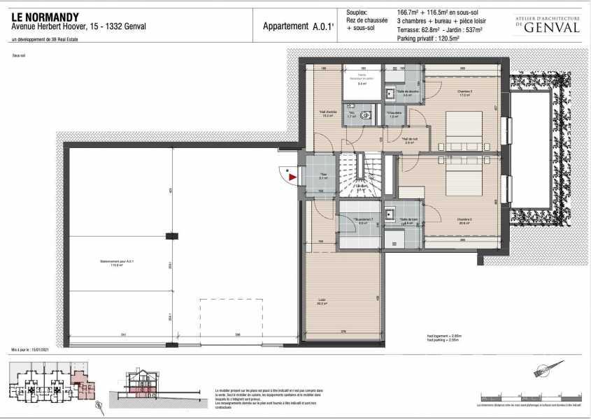 Genval  - Appartement 5 Pièces 4 Chambres