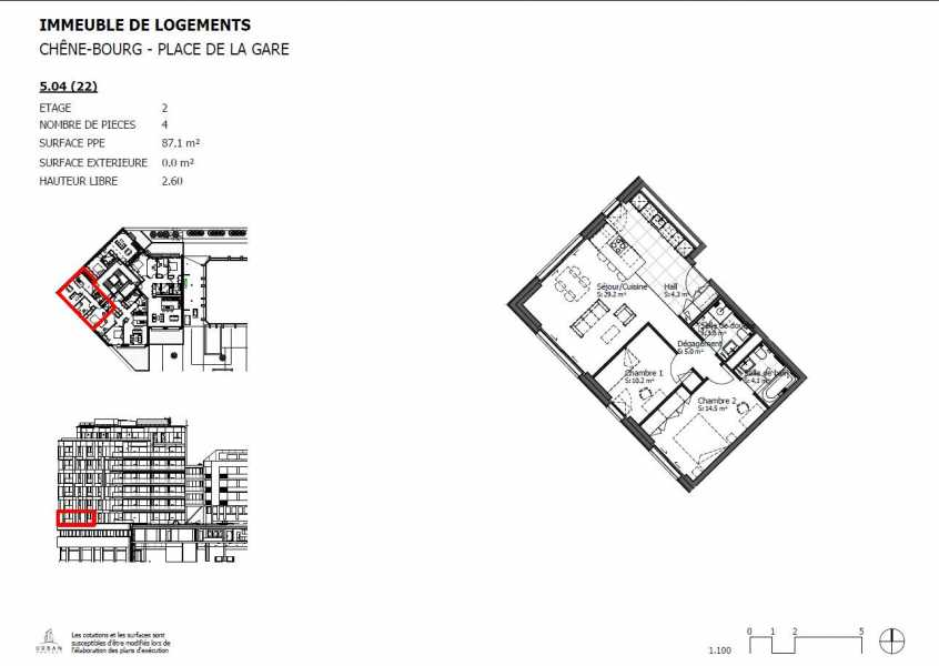 Chêne-Bourg  - Appartement 4 Pièces 2 Chambres
