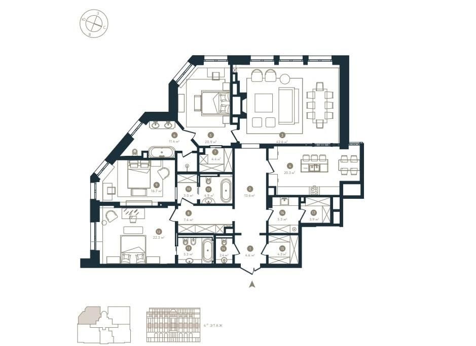 Moscow  - Квартира 4 Комнаты 3 Спальни - picture 4